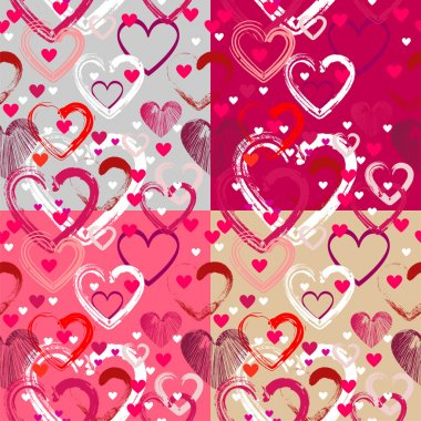 Vector background with different hearts. stock vector