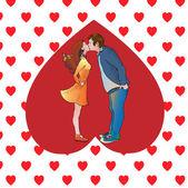líbající se pár v srdci. vektorové ilustrace