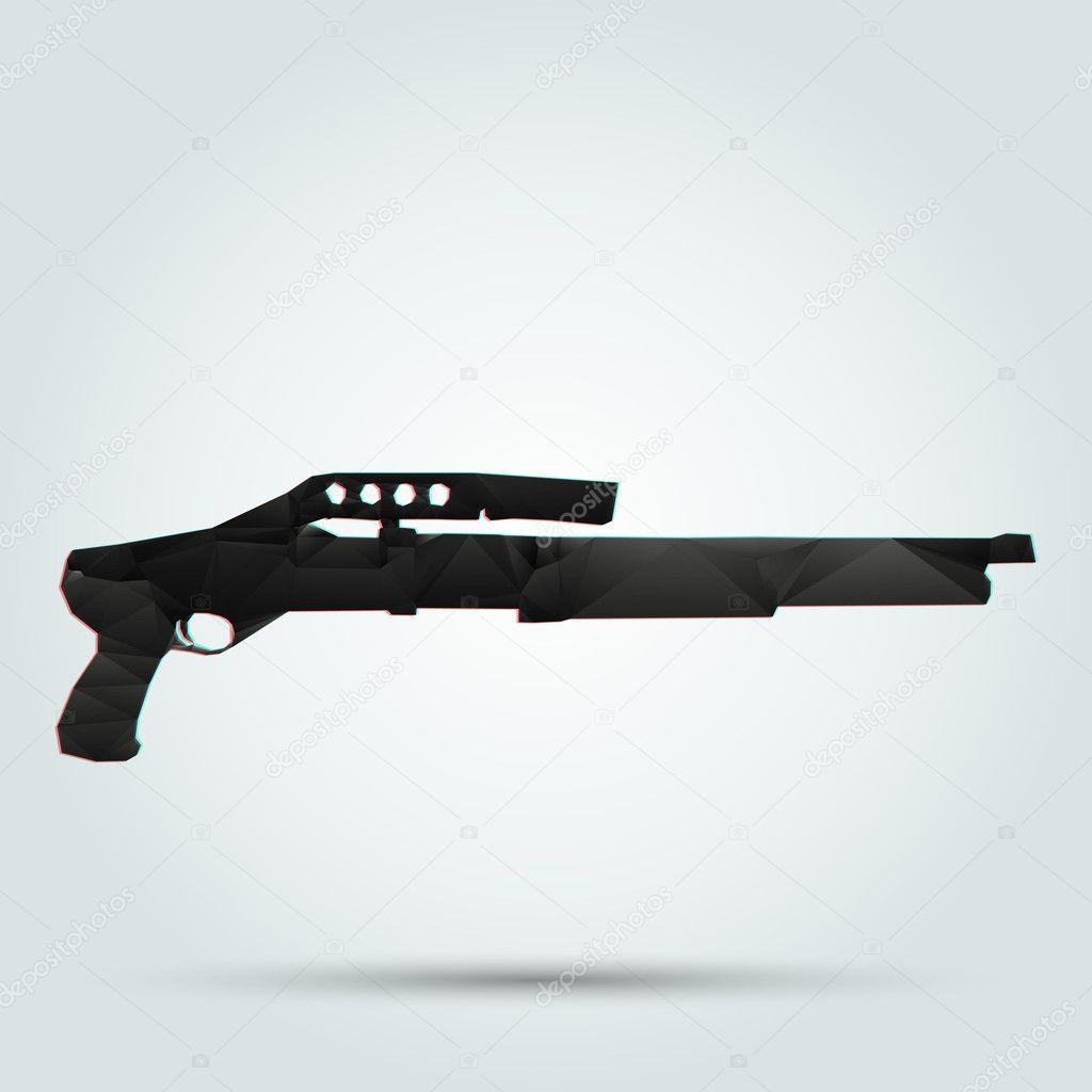 Abstract shotgun. Vector illustration. stock vector