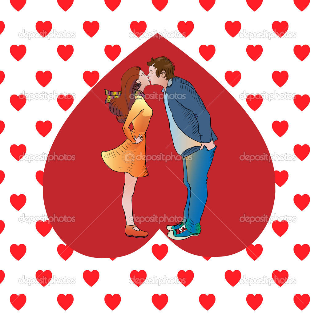 Kissing couple in heart. Vector illustration stock vector