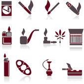 Kouření ikony. Vektorové ilustrace.
