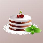 Cherry cake. Vector illustration.