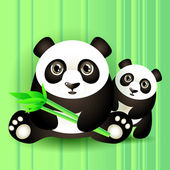 Two cute pandas. Vector illustration.