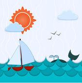 vektorové pozadí s velryba a lodí.