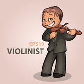 Vektor rajzfilm hegedűművész. Vektoros illusztráció.