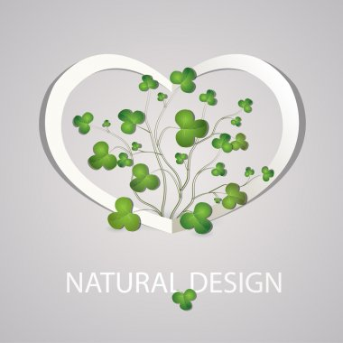 Heart with clover leaves. Vector illustration. stock vector