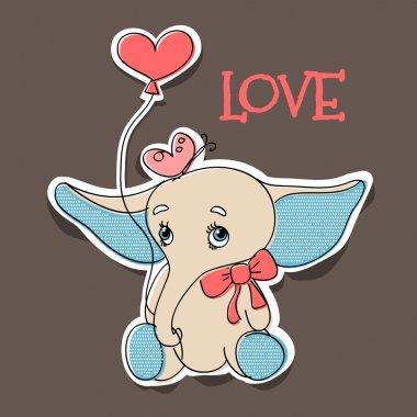 Elephant in love. Vector illustration. stock vector