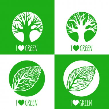 Vector ecology signs. I love green. stock vector