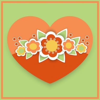 Vector greeting card with floral heart. stock vector