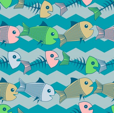 Vector background with fishes. stock vector