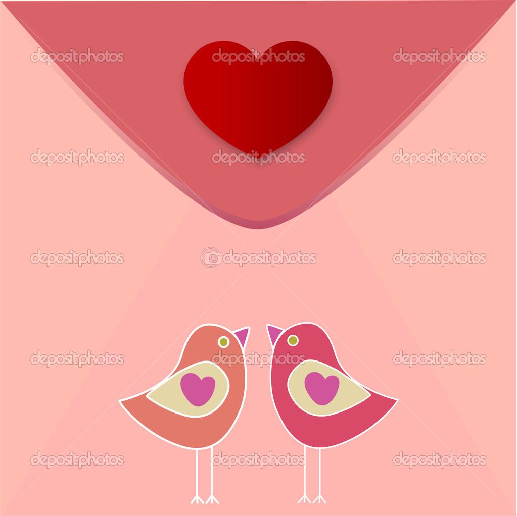 Vector greeting heart with birds in love. stock vector