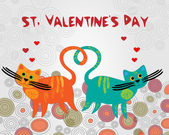 Vector background with cats for Valentines day.
