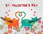 vektorové pozadí s kočkami, pro den svatého Valentýna.