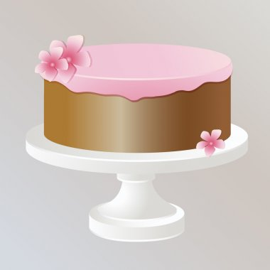 Illustration of cake with pink cream. stock vector