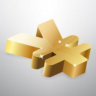 Golden yen sign. Vector illustration. stock vector