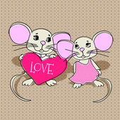 Mouses in love. Vector illustration.