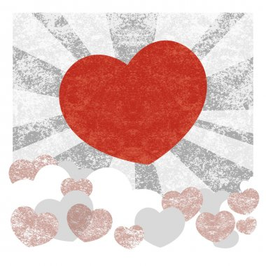 Grunge vector background with heart. stock vector