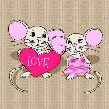 Mouses in love. Vector illustration. stock vector