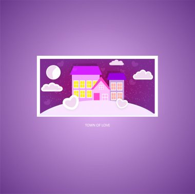 Town of love. Vector picture. stock vector