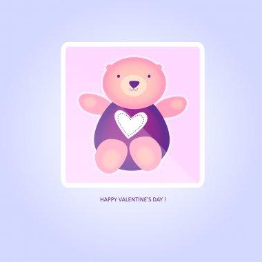 Cute valentine Teddy Bear. Vector illustration. stock vector