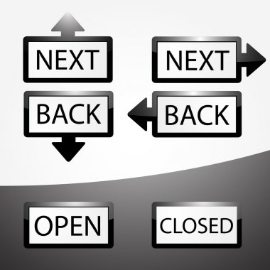 Back, Next, Open and Closed buttons set. stock vector