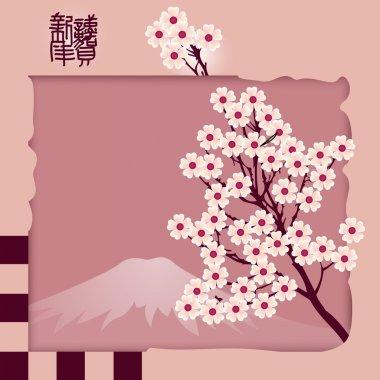 Vector background of blossom sakura. stock vector