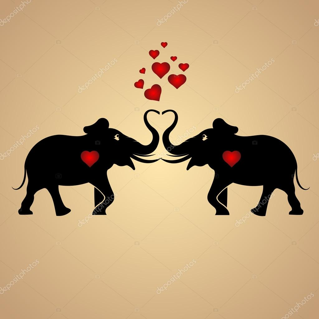 Vector background with elephants in love. stock vector