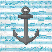 Vector anchor on a music sheet background