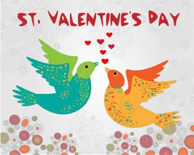 Vector background with birds for Valentine's day. stock vector