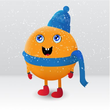 Cute orange fruit cartoon character stock vector