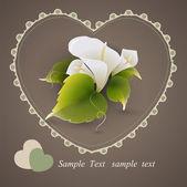 vektor srdce s květy calla lily.