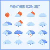 Az időjárási ikonok vektorkészlete.