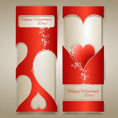 Vector banners with hearts. stock vector