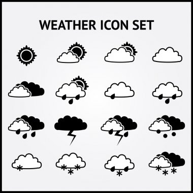 Vector set of weather icons. stock vector