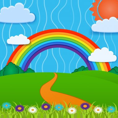 Vector background with rainbow. stock vector