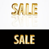 Vector gold sale signs on black and white background.
