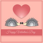 Vector greeting card with hedgehog for Valentines day.