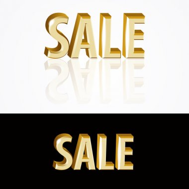 Vector gold sale signs on black and white background. stock vector