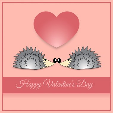 Vector greeting card with hedgehog for Valentine's day. stock vector