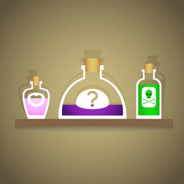 Vector illustration of bottles with various liquids. stock vector