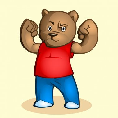 Cartoon strong bear. Vector illustration. stock vector