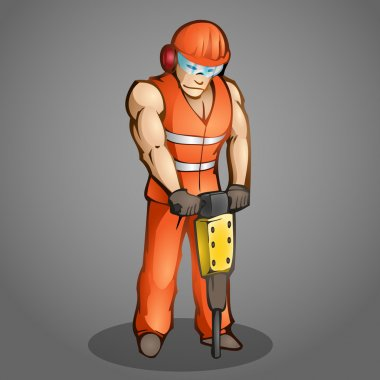 Vector illustration of a cartoon worker. stock vector
