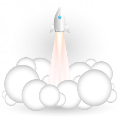 Vector illustration of flying rocket. stock vector