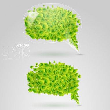 Speech bubble of green leaves. Vector illustration. stock vector