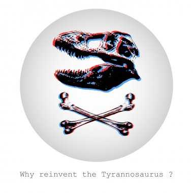 Why reinvent Tyrannosaurus? Concept vector illustration of scull and bones in a pirate flag style stock vector