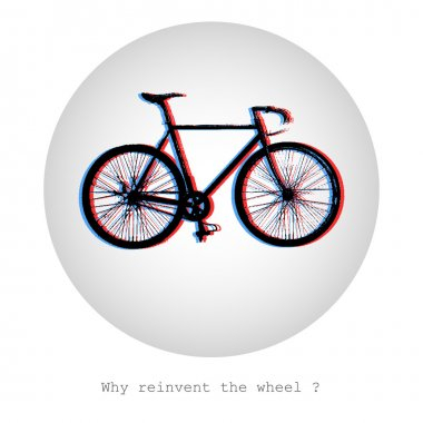 Why reinvent the wheel? Concept vector illustration of a bike in a bubble stock vector