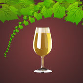 Vector background with wine and leaves of grapes.