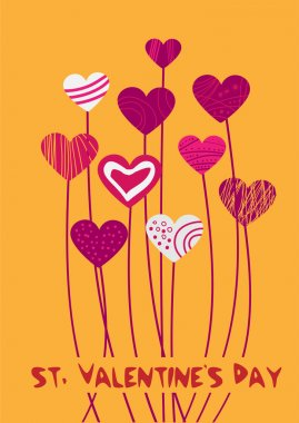 Vector background with hearts for Valentine's day. stock vector