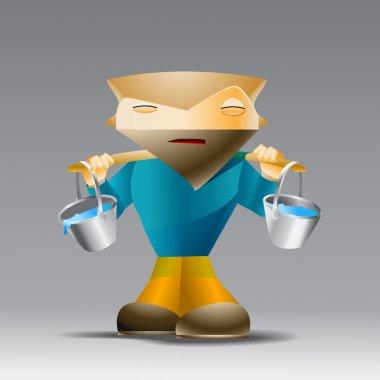 Cartoon man with buckets of water. stock vector