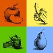 vektor vázlat illusztrációk, gyümölcsök és zöldségek.